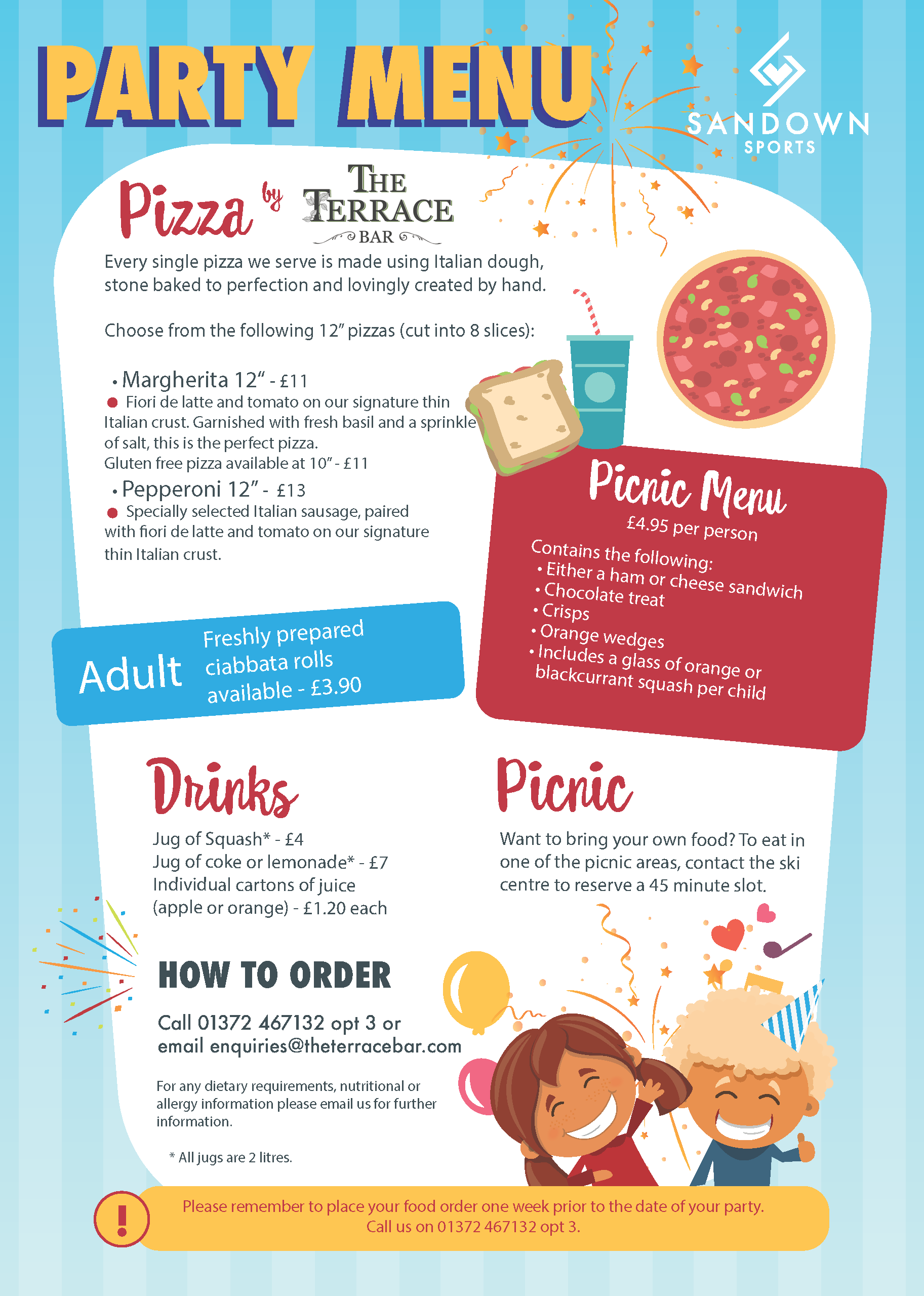 chidlrens birthday food menu